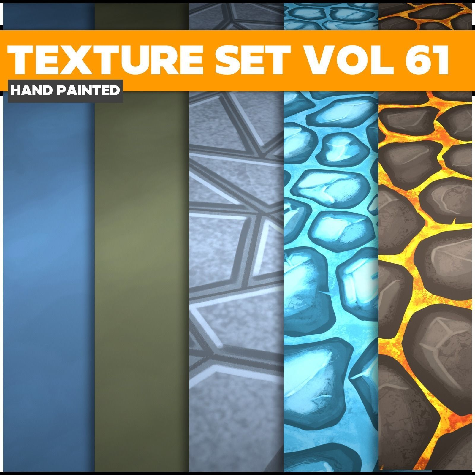 Tiles Lava Stone Vol 61 - Game PBR Textures