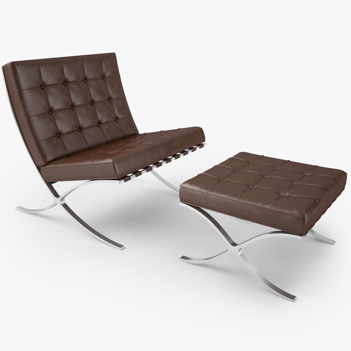 ... Knoll Barcelona Chair 3d Model Max Obj Fbx Mtl 2 ...