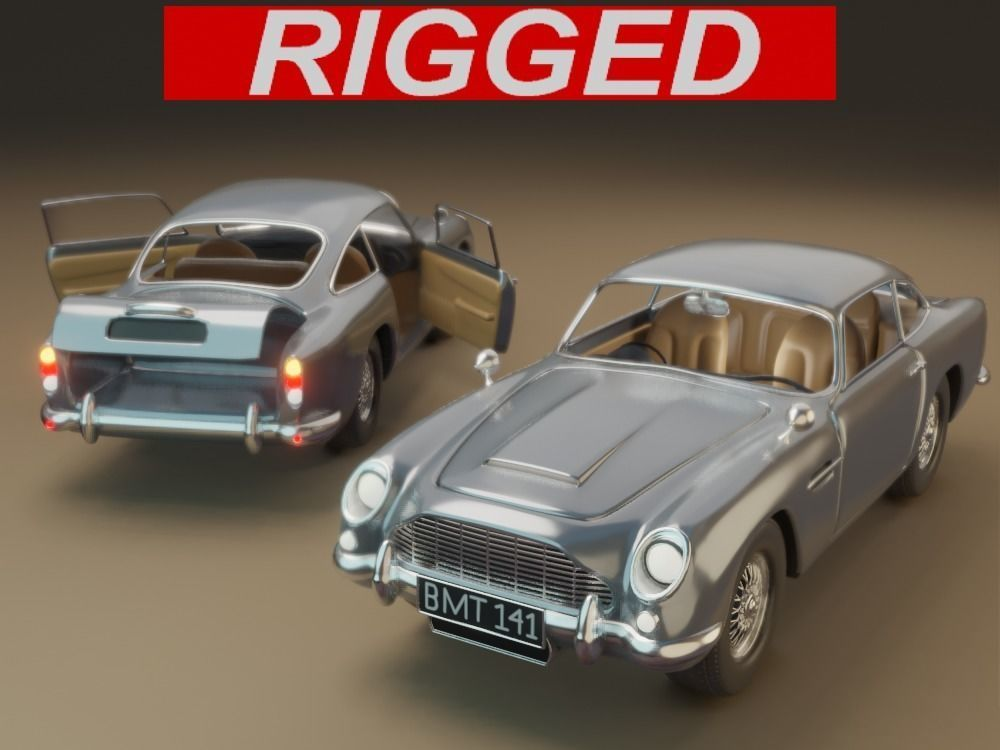 Aston Martin DB5 Car 3D model rigged