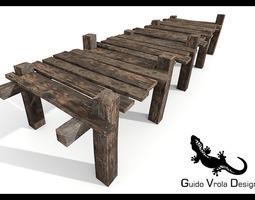 Old wooden pier 3D model