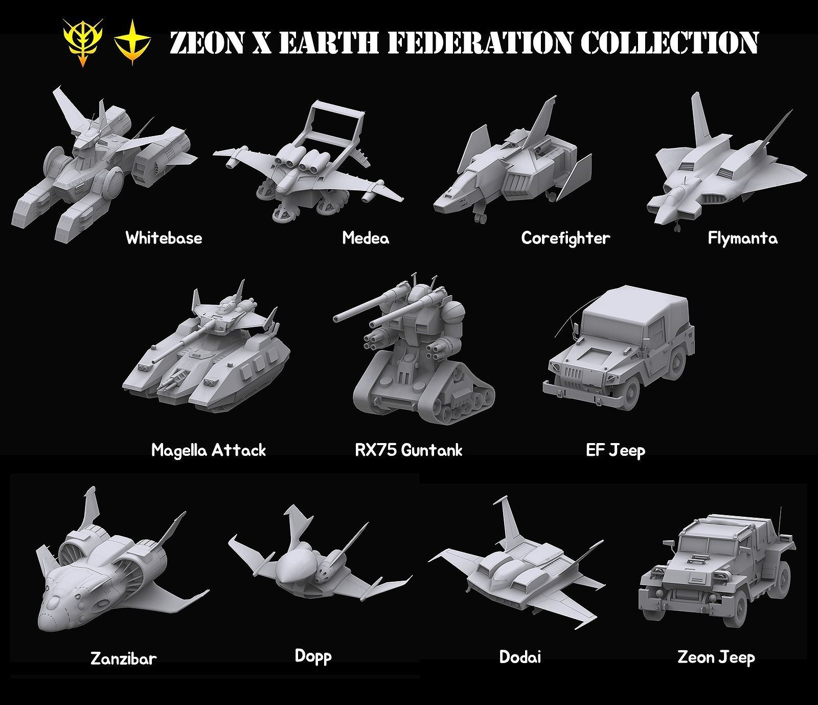 Gundam Zeon X Earth Federation Space military Collection
