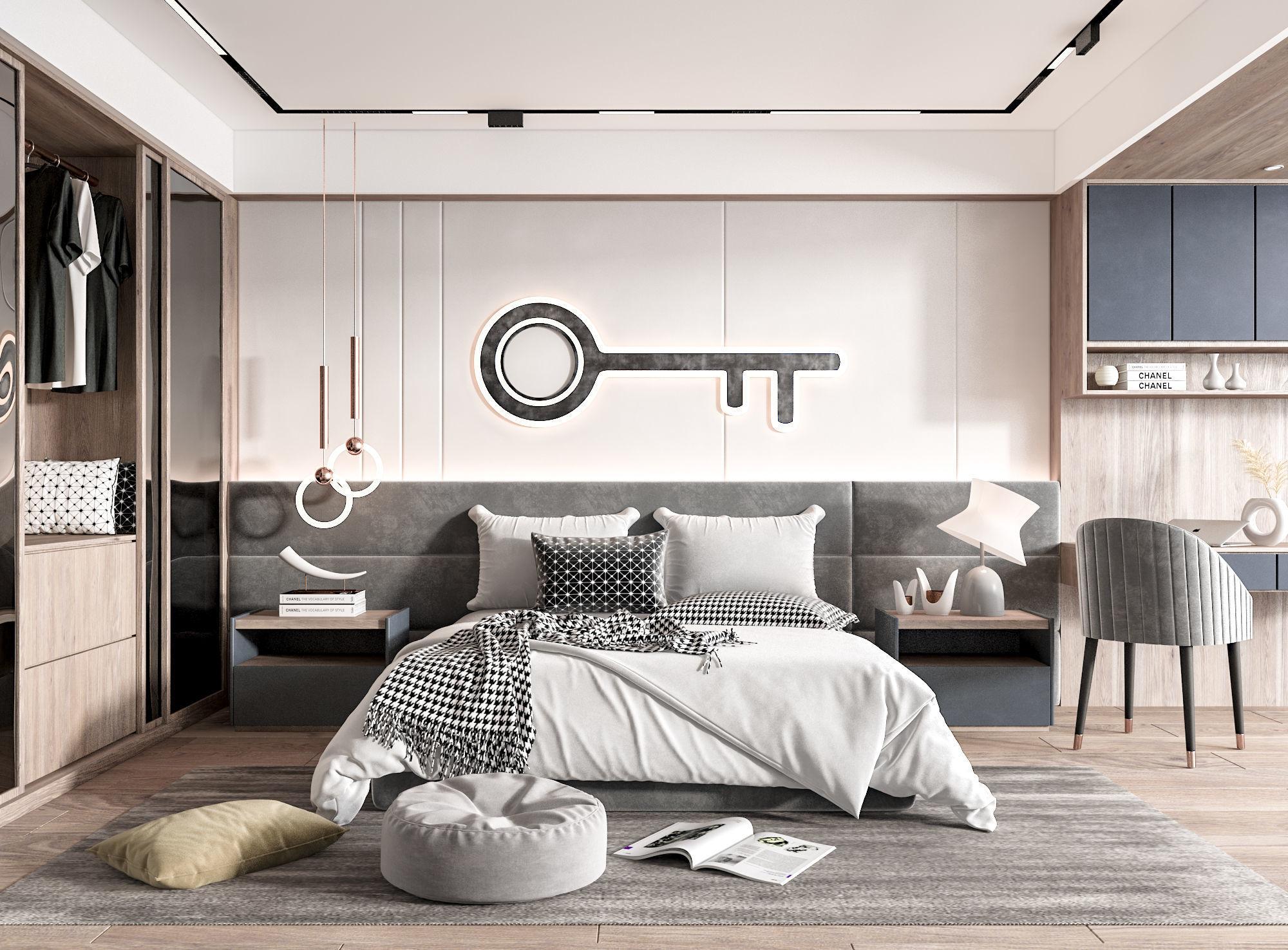 Modern style interior bedroom scene 3D model