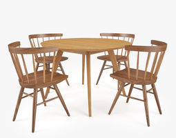 knoll straight chair and risom dining table 3d model max obj fbx