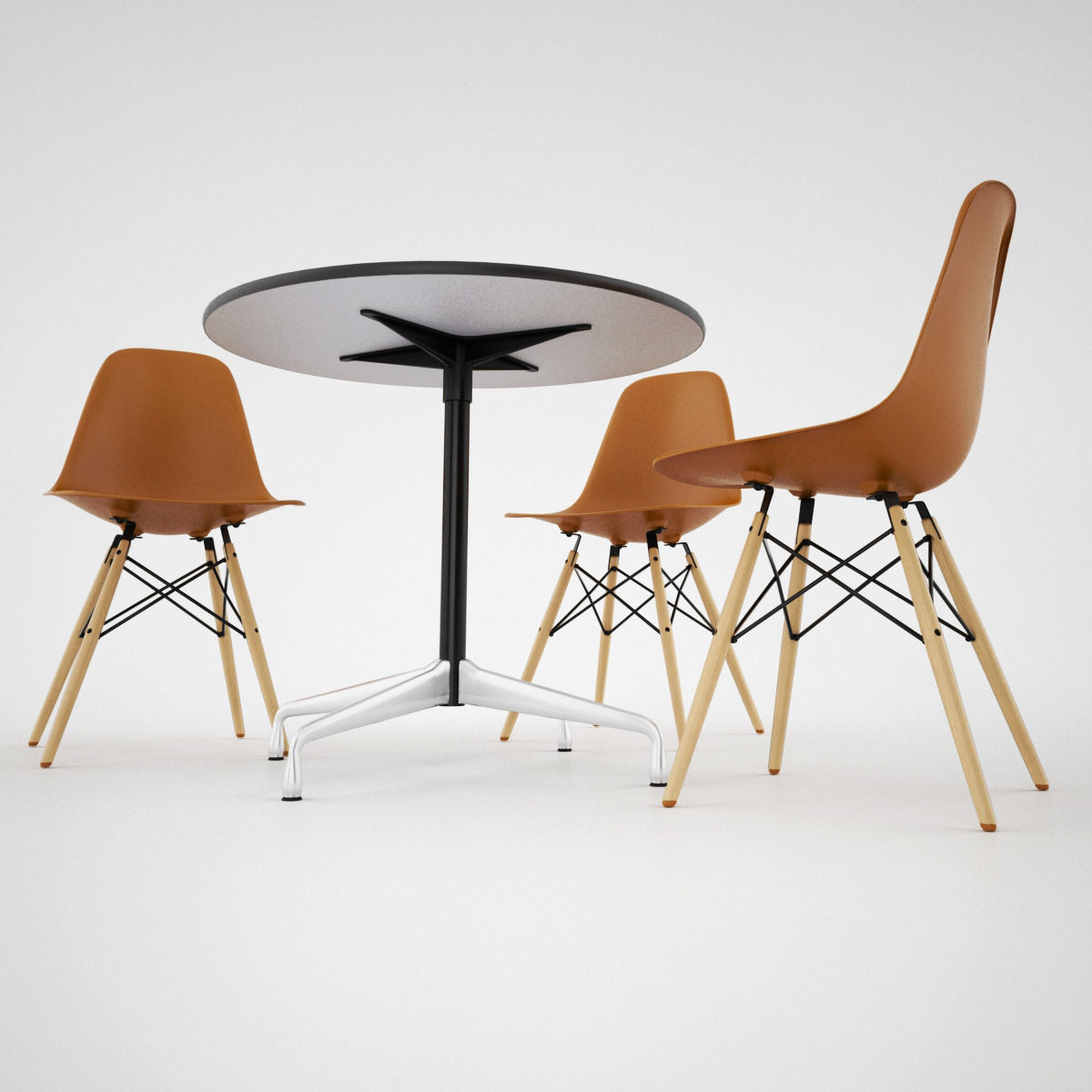 Vitra dsw chair and eames table 3d model max obj fbx mat for Dsw chaise vitra