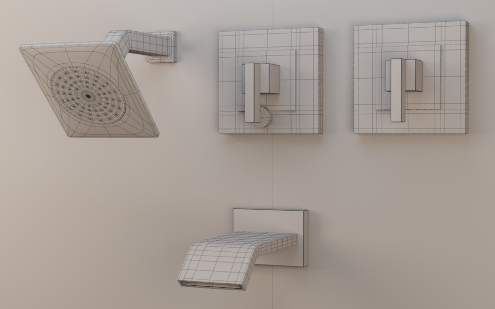 kohler loure ritetemp bath shower trim set semi polished chrome 3d model max obj
