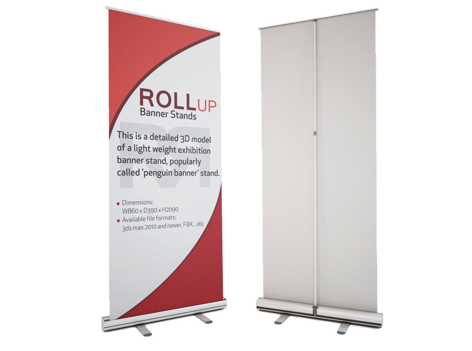Banner stand roll up 3d model max obj fbx for Kakemono stand