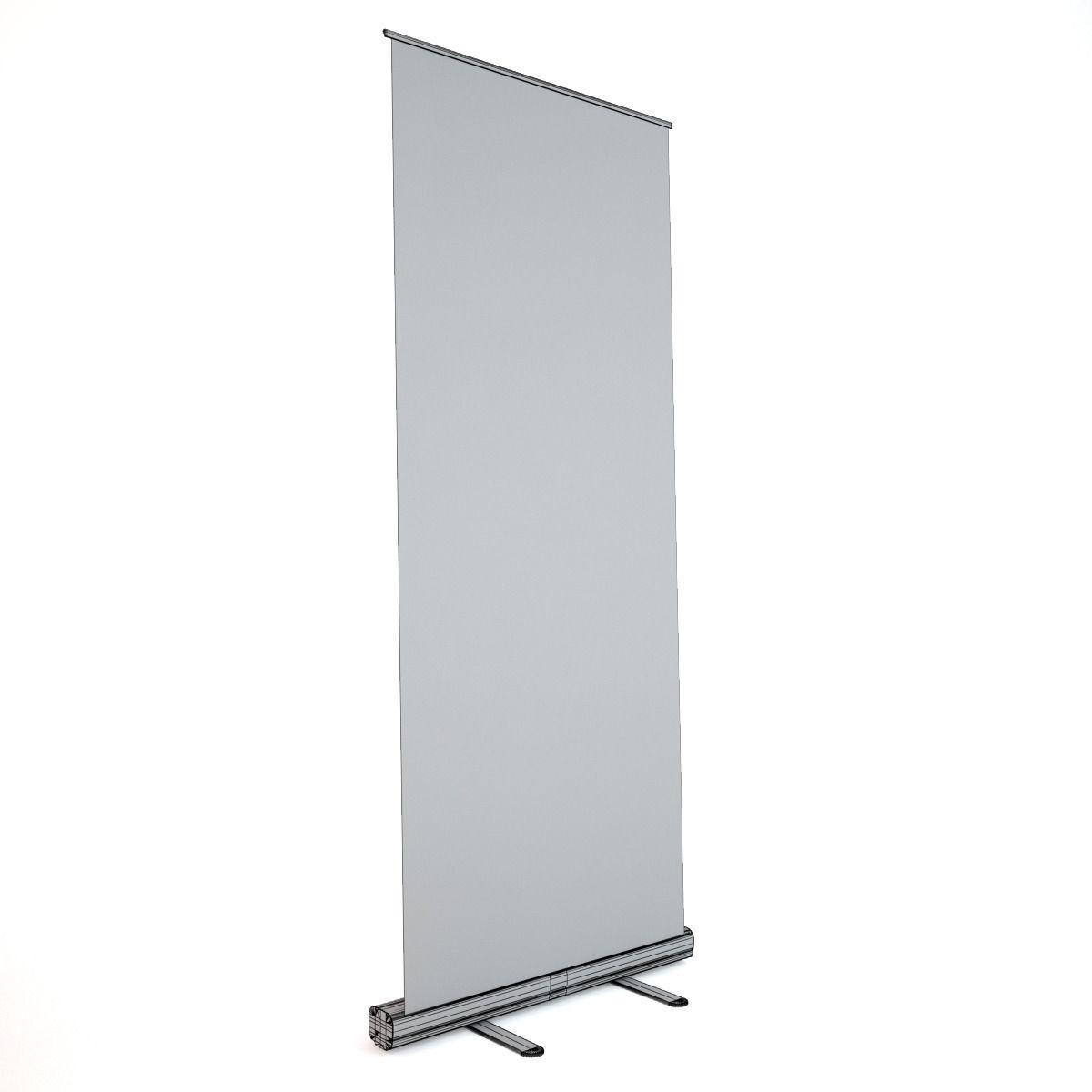 Banner Stand - Roll-up 3D Model MAX OBJ FBX