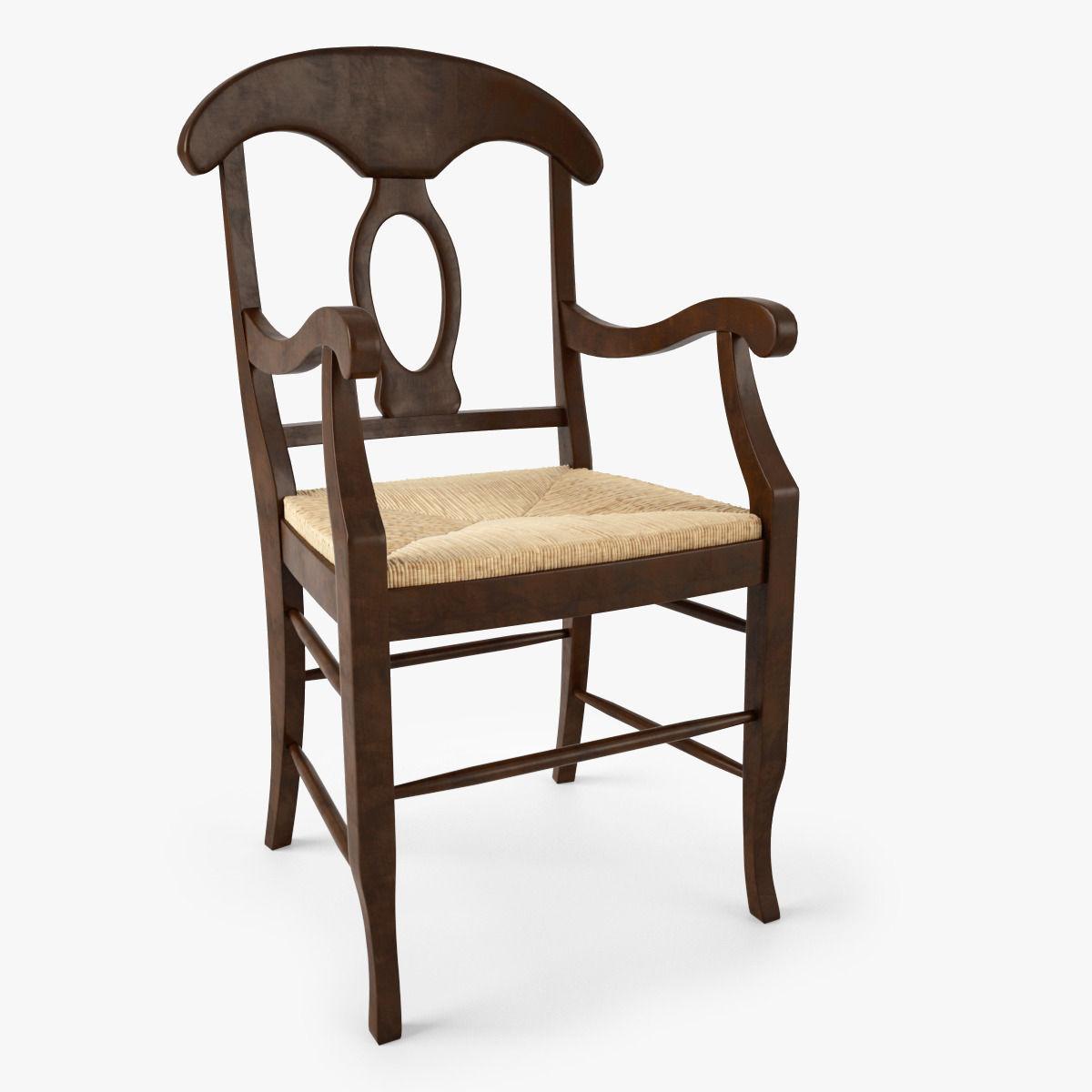 Pottery Barn Napoleon Rush Seat Chair 3d Model Max Obj 1 ...