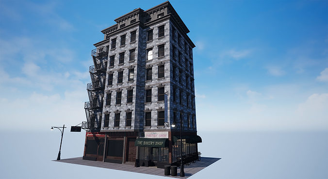 New York City 1950 Modular Building With interior Game Ready