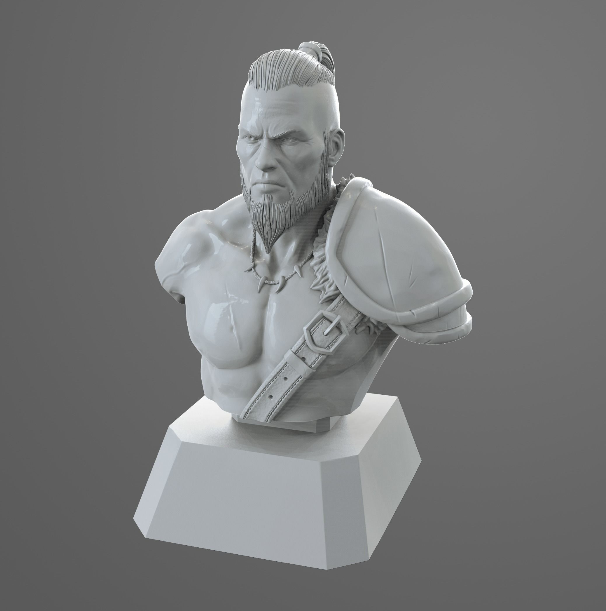 Barbarian bust ready for print model
