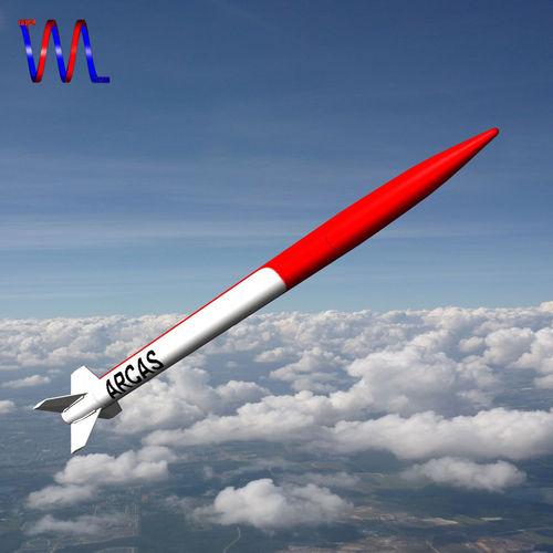 arcas sounding rocket 3d model low-poly obj 3ds fbx dxf blend dae 1