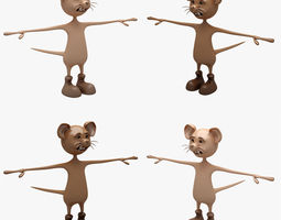 3D Cartoon Mouse 001 002 RIGGED T POSE