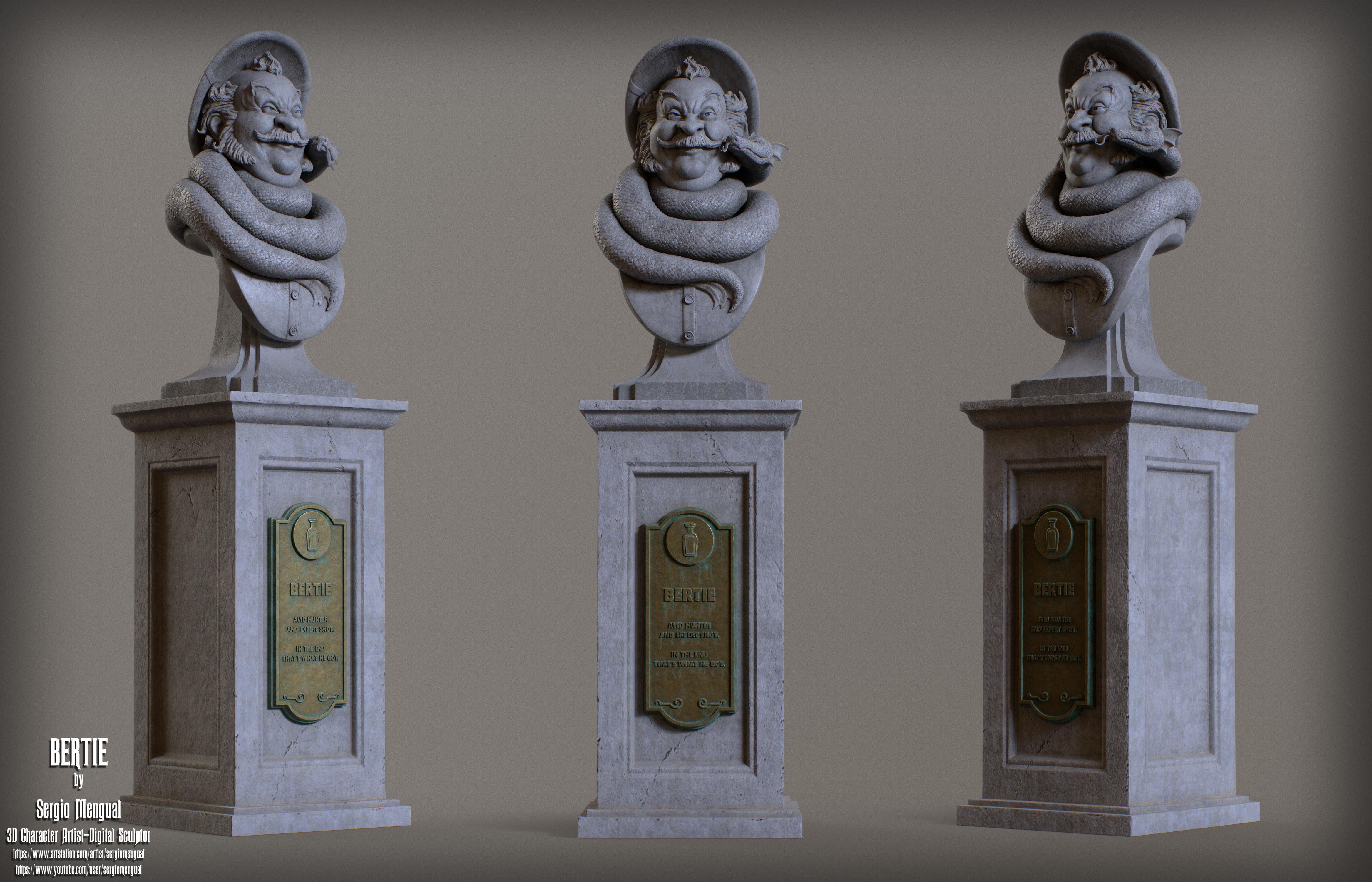Haunted Mansion Bertie 3D Printable Bust DELUXE VERSION
