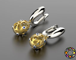 easter eggs collection earrings set 7 with gems 0140 3d print model