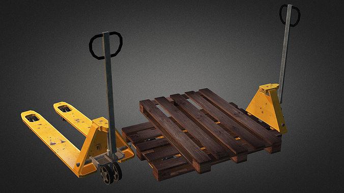 pallet truck and pallet 3d model low-poly max obj 3ds fbx dxf dwg 1