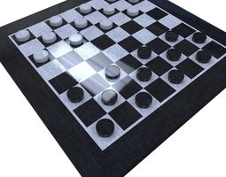 3d asset checkers set low-poly