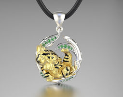jewelry pendant tiger cub on the branch 0199 3d print model