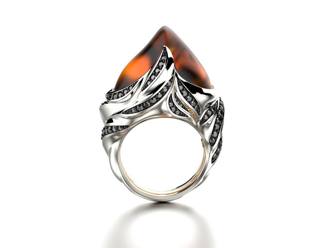 exclusive fashion ring with fire opal 3d model stl 1