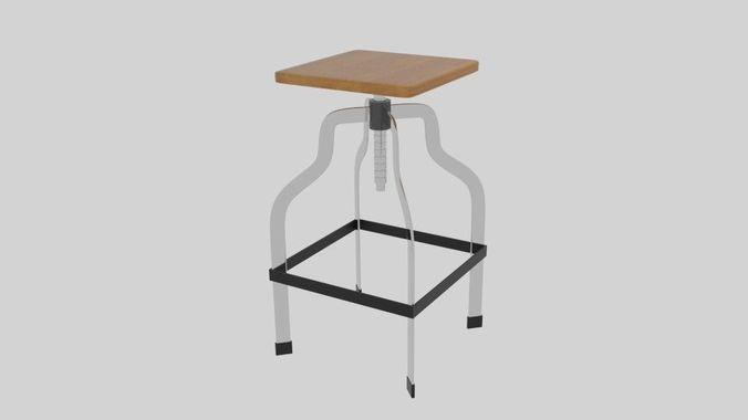 screwed stool 3d model obj 3ds fbx blend dae mtl 1