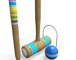 3d model low-poly croquet set