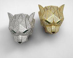 3d printable model diamond panther ring