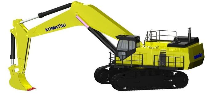 komatsu pc1250 excavator 3d cgtrader