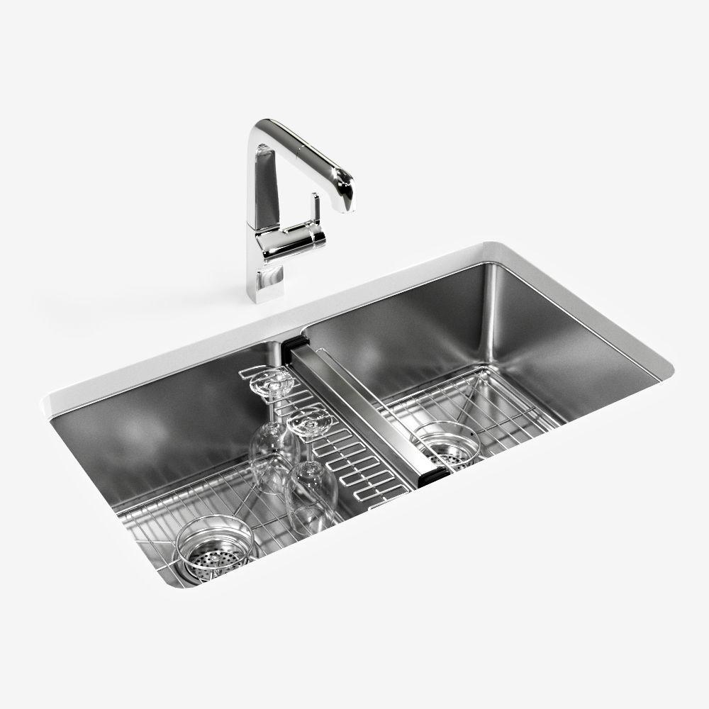 Kohler Strive Undermount Kitchen Sink 3d Model Cgtrader