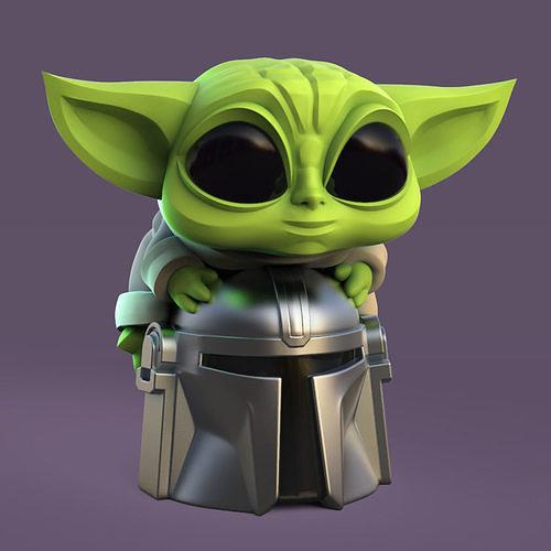 Grogu - Baby Yoda and Helmet