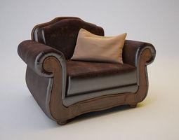 Barcelona Antique Armchair 3D Model