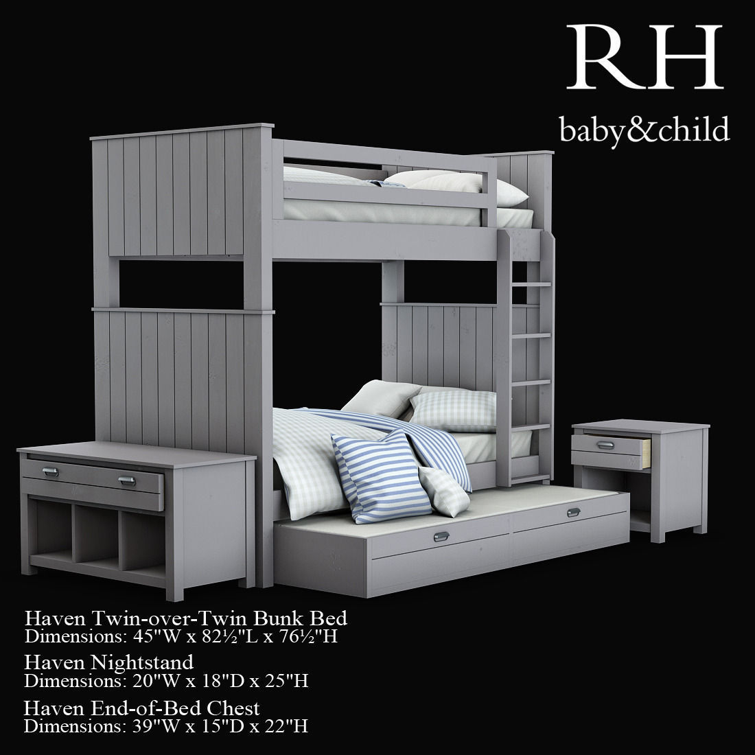 haven twin-over-twin bunk bed 3d model max fbx