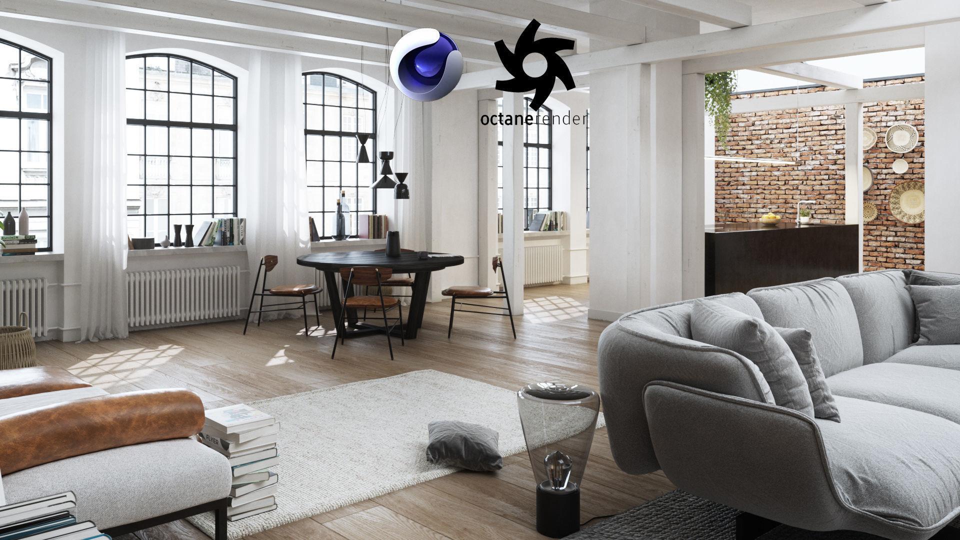 Workshop Apartment in London Cinema 4D and Octane Render