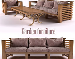 garden furniture 3d model rigged