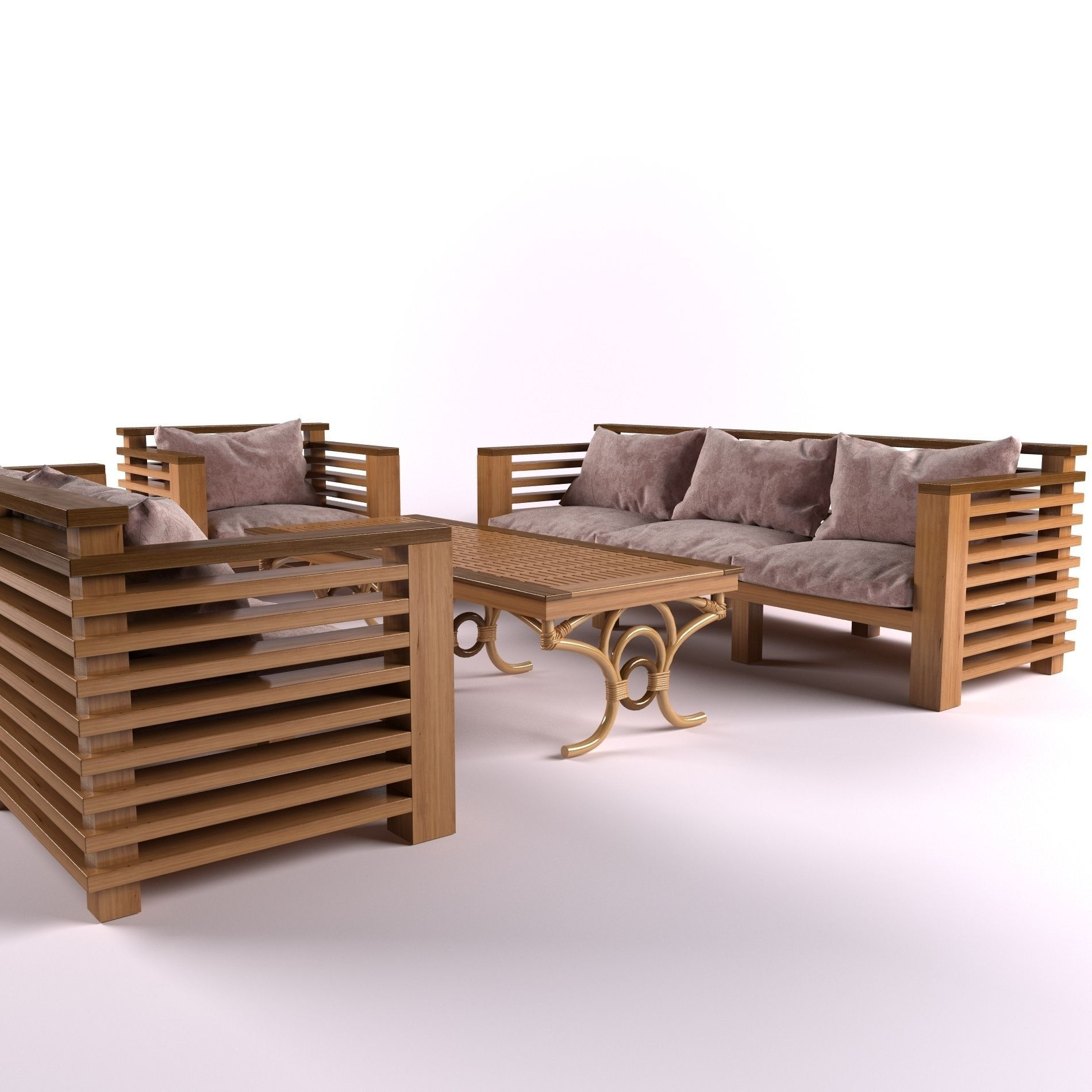3d model garden furniture vr ar low poly max obj mtl. Black Bedroom Furniture Sets. Home Design Ideas