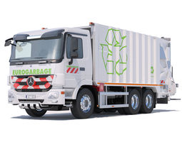 3D model Actros Garbage Truck with mechanisms