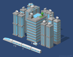 futuristic city or modern city 3d