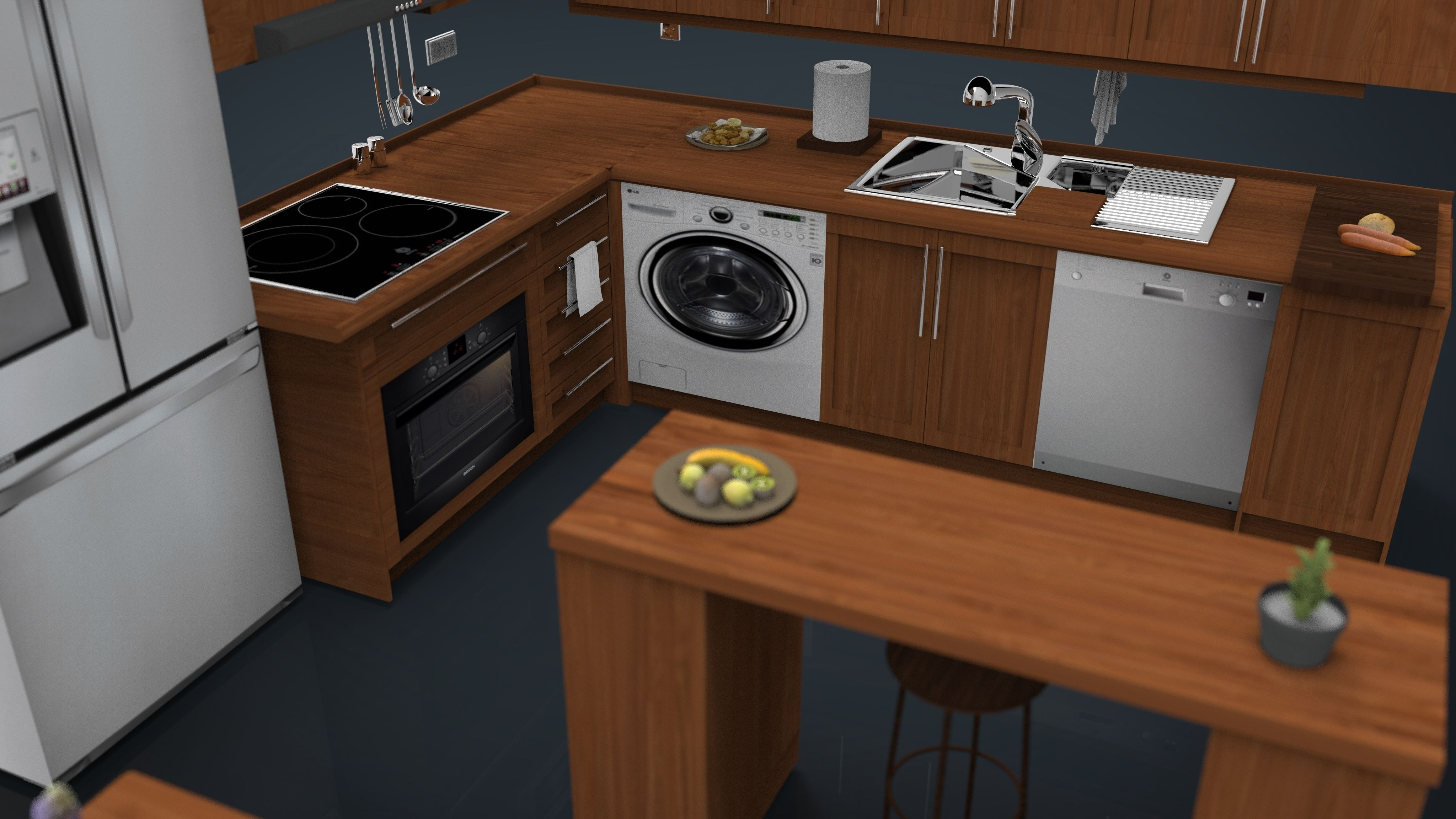 Kitchen set 1 3d model for Kitchen set 3d warehouse