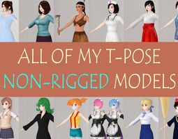 All of my T pose nonrigged girls 3D model