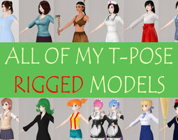 3D All of my T pose rigged girls