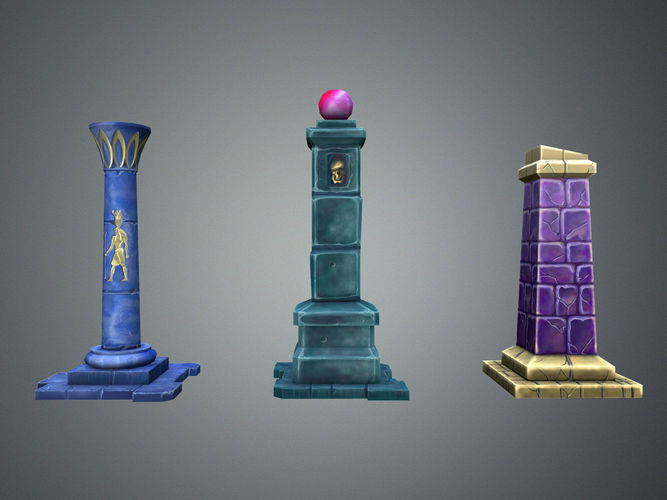 fantasy pillar collection 3d model low-poly max obj mtl fbx 1