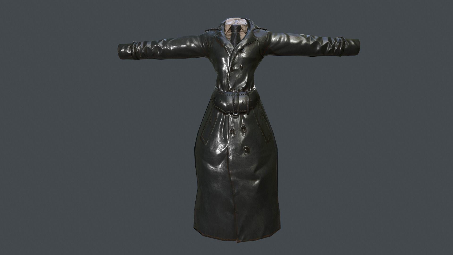 Long Leather Coat Closed Black