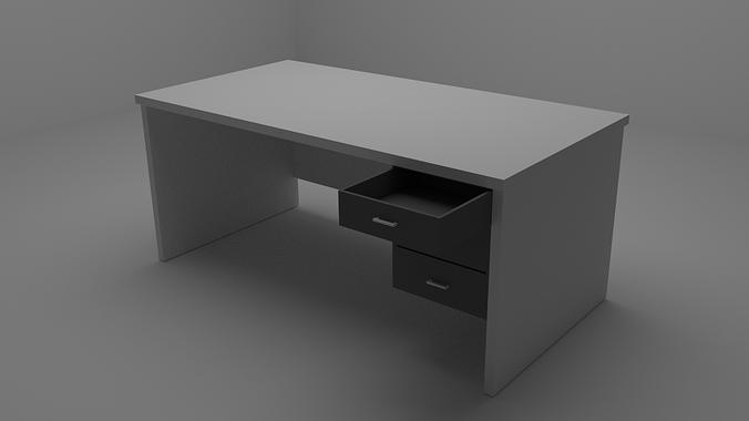 Simple Desk 3d Model Obj Blend