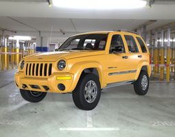 Jeep Liberty 2002 with Interior for 3ds and obj