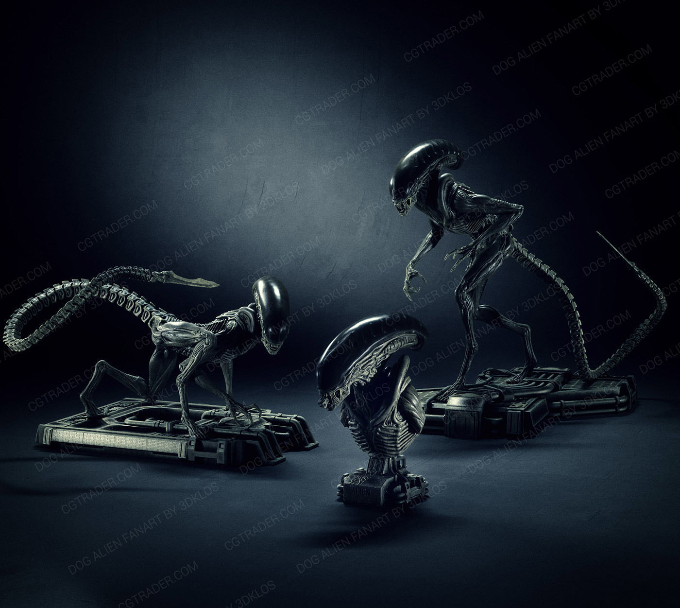Dog alien Sculptures and Bust - fanart Collection