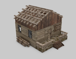 abandoned house game-ready 3d asset