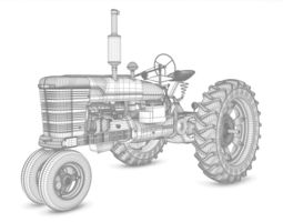 old tractor model 3d
