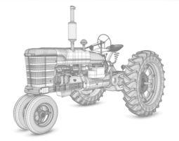 Old Tractor Model 3D Model