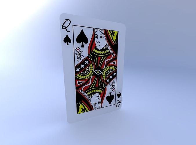 queen of spades 3d model obj mtl 1