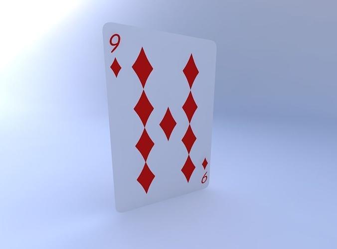 nine of diamonds 3d model obj mtl 1
