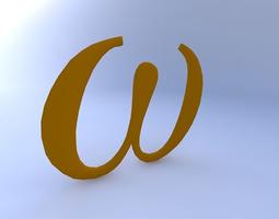 3D model Greek Letter, Omega