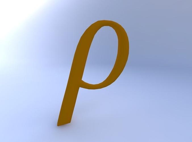 3d Model Greek Letter Rho Cgtrader